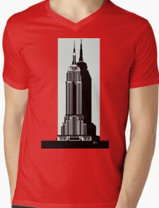 Empire State Building Deco Swing in blue Mens V-Neck T-Shirt