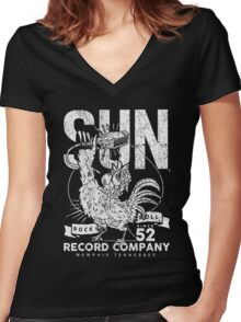 SUN RECORDS : since 1952 Women's Fitted V-Neck T-Shirt