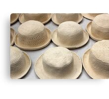 White Knit Hats at the Market Canvas Print