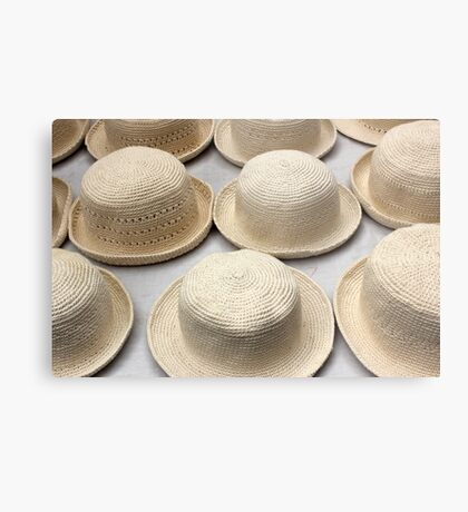 White Knit Hats at the Market Metal Print
