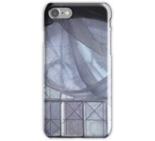 Blue Curtain in an Arched Window iPhone Case/Skin
