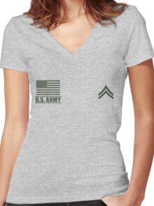Corporal Infantry US Army Rank by Mision Militar ™ Women's Fitted V-Neck T-Shirt
