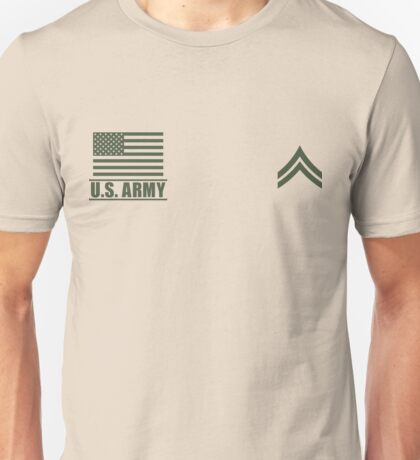 Corporal Infantry US Army Rank Desert by Mision Militar ™ Unisex T-Shirt