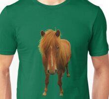 Icelandic horse on green flash background Unisex T-Shirt