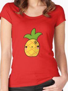 Kawaii Cute Pineapple Tropical Women's Fitted Scoop T-Shirt