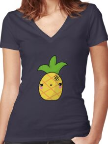 Kawaii Cute Pineapple Tropical Women's Fitted V-Neck T-Shirt