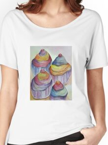 watercolour cupcakes Women's Relaxed Fit T-Shirt