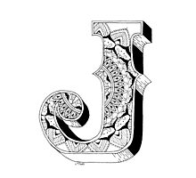 J - Mandala N°1 inside Alphabet N°1 Photographic Print