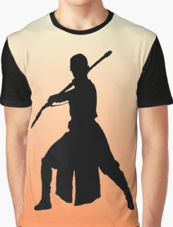 Rey - Fighting Stance Silhouette Graphic T-Shirt