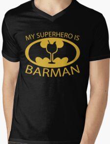 My Superhero is Barman Mens V-Neck T-Shirt