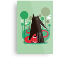 Red and wolf in the woods Metal Print