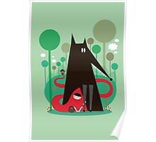 Red and wolf in the woods Poster