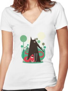 Red and wolf in the woods Women's Fitted V-Neck T-Shirt