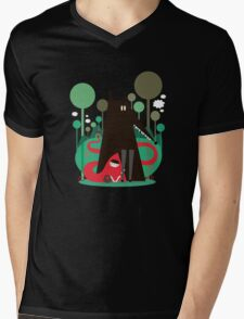 Red and wolf in the woods Mens V-Neck T-Shirt