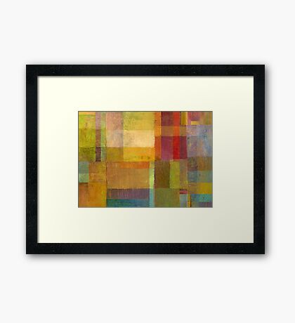 Color Collage with Green and Red Framed Print