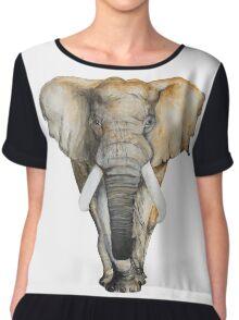 Watercolor hand drawn Elephant Chiffon Top