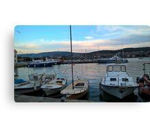 Little marina in Piran Slovenia Canvas Print