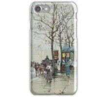 GALIEN-LALOUE, EUGÈNE (Paris  Chérence) Street scene in Paris with horse-drawn carriages. iPhone Case/Skin