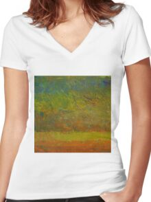 Abstract Landscape Series - Golden Dawn Women's Fitted V-Neck T-Shirt