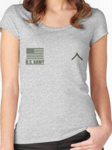 Private PV2 Infantry US Army Rank by Mision Militar ™ Women's Fitted Scoop T-Shirt