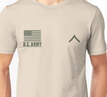 Private PV2 Infantry US Army Rank Desert by Mision Militar ™ Unisex T-Shirt
