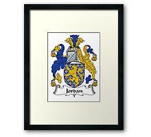 Jordan Coat of Arms / Jordan Family Crest Framed Print