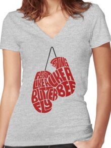 Float Like A Butterfly, Sting Like a Bee (Red) Women's Fitted V-Neck T-Shirt