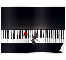 Piano Music Black and White Poster