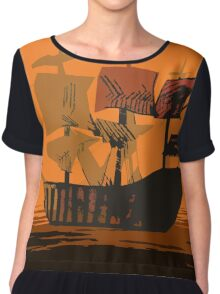 Sunset Ship Chiffon Top
