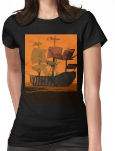 Sunset Ship Womens Fitted T-Shirt