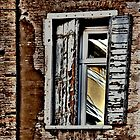 ANCIENT SHUTTERS - MODERN WINDOW - CURRENT REFLECTION by Thomas Barker-Detwiler