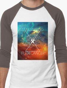 Fuck Cancer // Galaxy // White Font // Brain Cancer Men's Baseball ¾ T-Shirt
