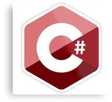 c sharp red lenguage programming c# Metal Print