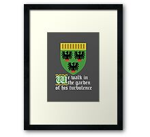 We walk in the garden of his turbulence (white) Framed Print