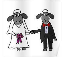 Cool Funny Sheep Bride and Groom Wedding Art Poster