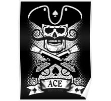 Pirate skull logo  with grunge Poster