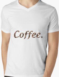 Coffee Text w/ Beans Mens V-Neck T-Shirt