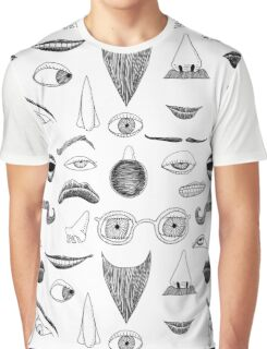 Fractured Facial Features Graphic T-Shirt