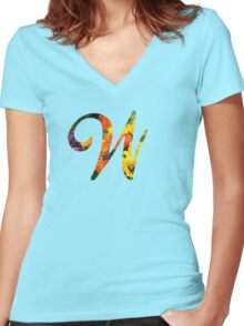 Floral W Women's Fitted V-Neck T-Shirt