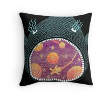 Cosmic Fish with Gingerbread Astronaut Throw Pillow