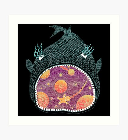 Cosmic Fish with Gingerbread Astronaut Art Print