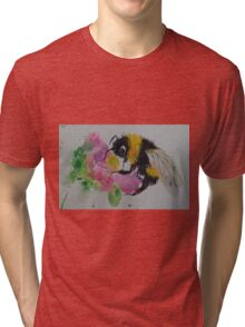 Bumble bee and pink flower Tri-blend T-Shirt