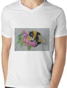 Bumble bee and pink flower Mens V-Neck T-Shirt