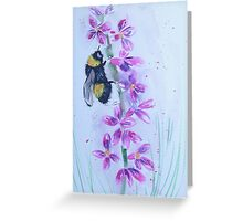 Bumble bee sitting on a flower Greeting Card