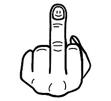 funny middle finger black Photographic Print