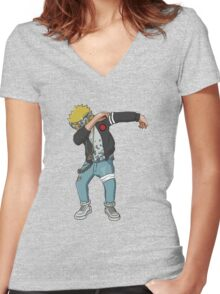 <DAB> Blond Haired Dab Women's Fitted V-Neck T-Shirt