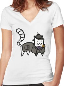 Detective Cat Women's Fitted V-Neck T-Shirt
