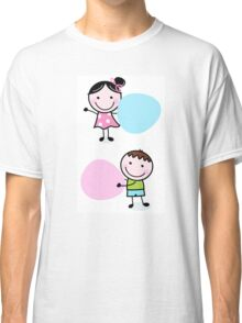 Illustration of happy Kids with Hearts Classic T-Shirt