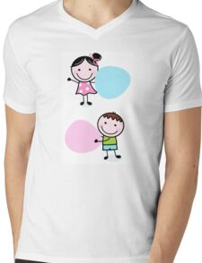 Illustration of happy Kids with Hearts Mens V-Neck T-Shirt