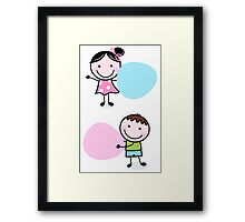 Illustration of happy Kids with Hearts Framed Print